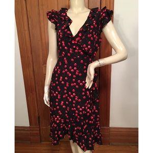 J. Crew Black Red Cherry Print Silk Dress 6